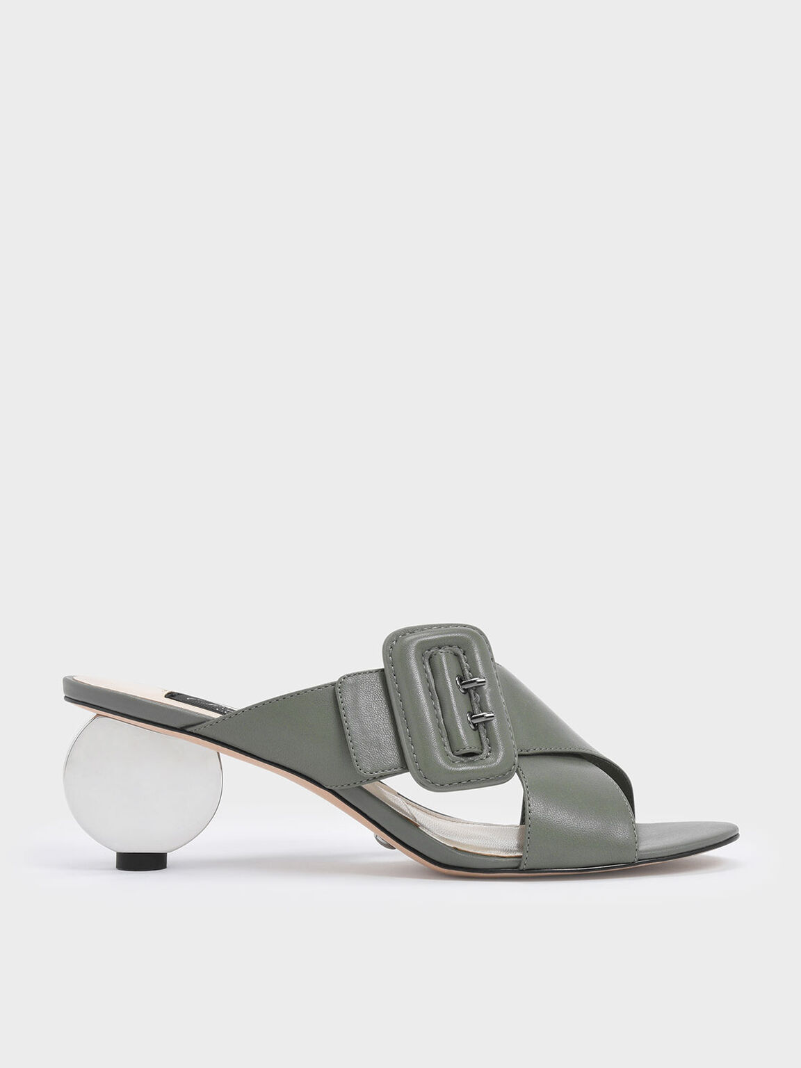 Sculptural Heel Leather Slide Sandals, Sage Green, hi-res