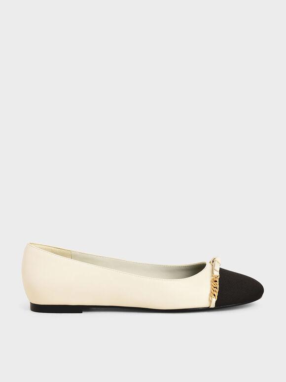 金屬鍊平底鞋, 奶油色, hi-res