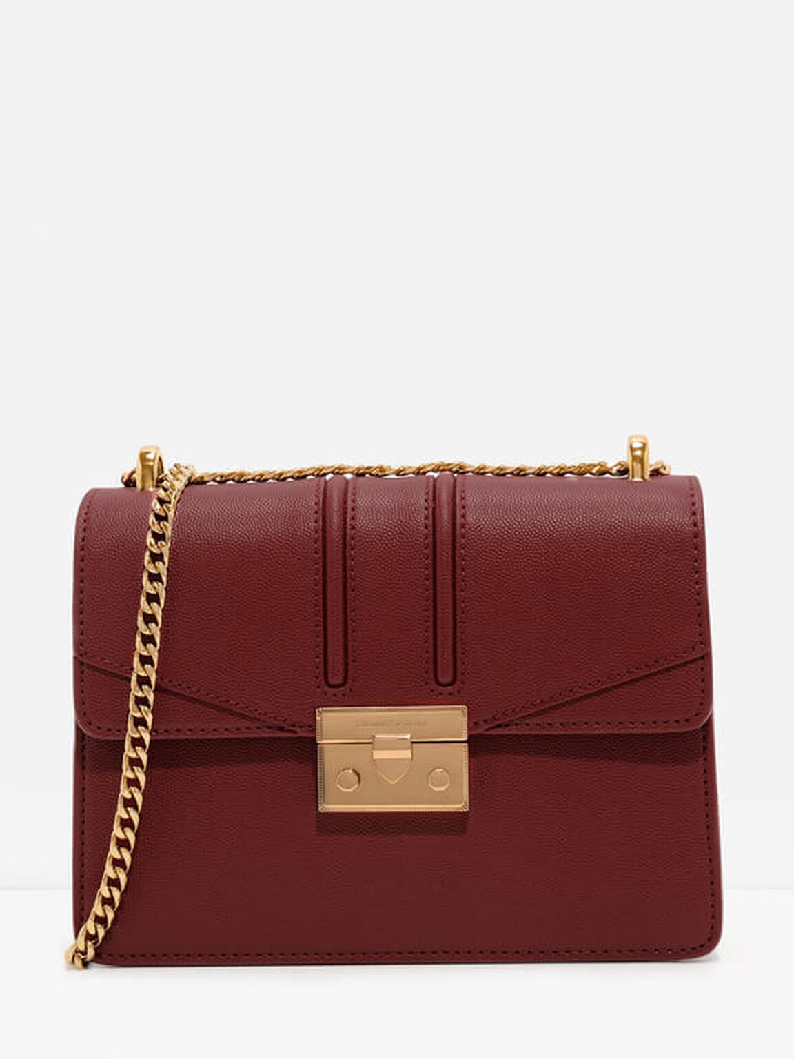 Metallic Accent Chain Strap Shoulder Bag, Red, hi-res