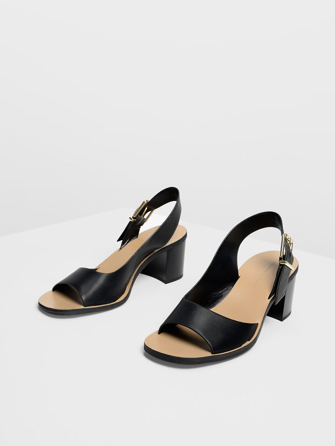 Buckled Slingback Heels, Black, hi-res