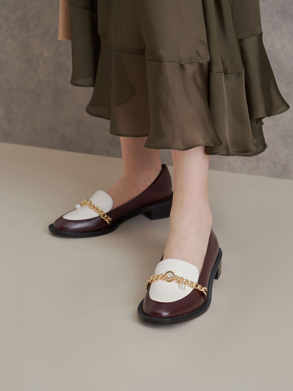 Two-Tone Chain Link Loafers, Maroon, hi-res