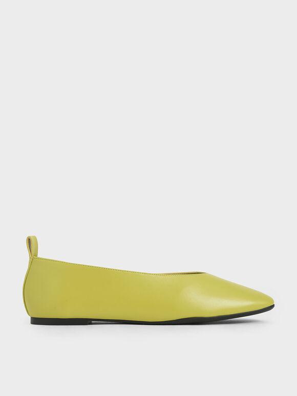 Ballerina Flats, Green, hi-res