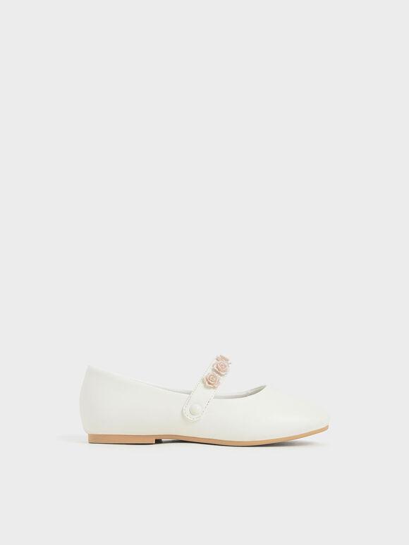 兒童小花瑪莉珍鞋, 白色, hi-res