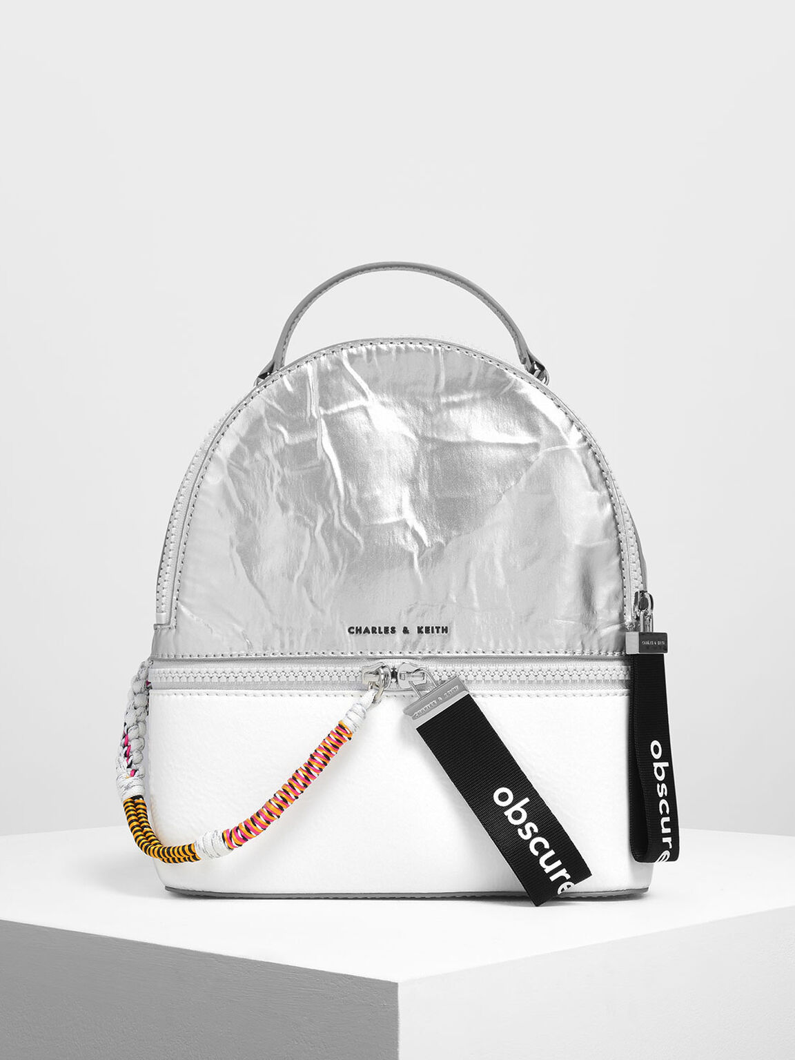 Two-Way Zip Mesh Detail Backpack, Silver, hi-res