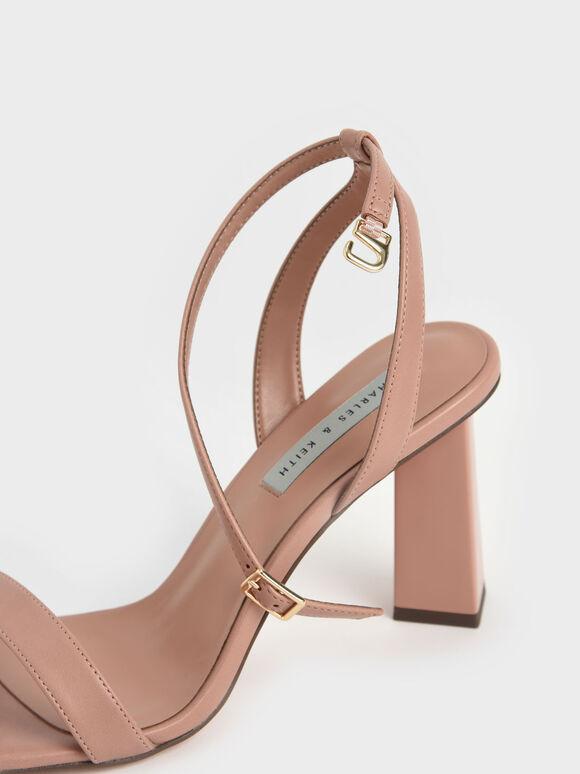 Ankle Strap Geometric Heeled Sandals, Pink, hi-res