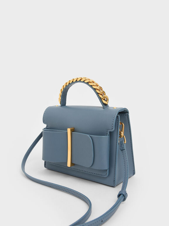 Chunky Metal Top Handle Bow Flap Bag, Slate Blue