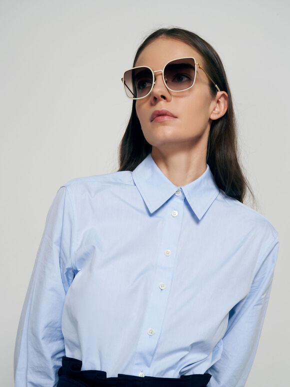 Geometric Butterfly Sunglasses, Cream, hi-res