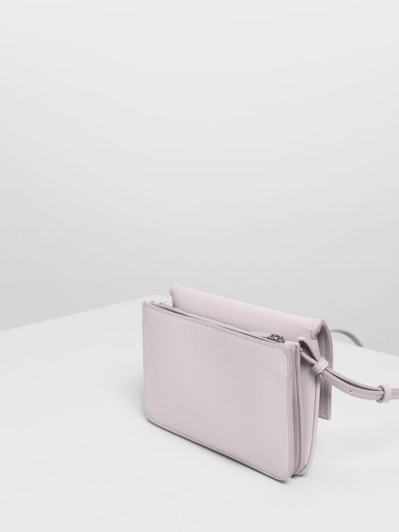 Metallic Accent Push Lock Pouch, Lilac
