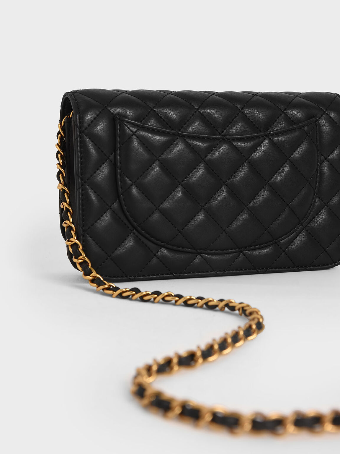 Quilted Flip-Lock Clutch, Black, hi-res