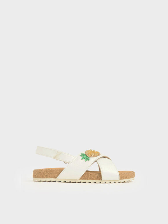 Girls' Embellished Criss-Cross Sandals, White, hi-res