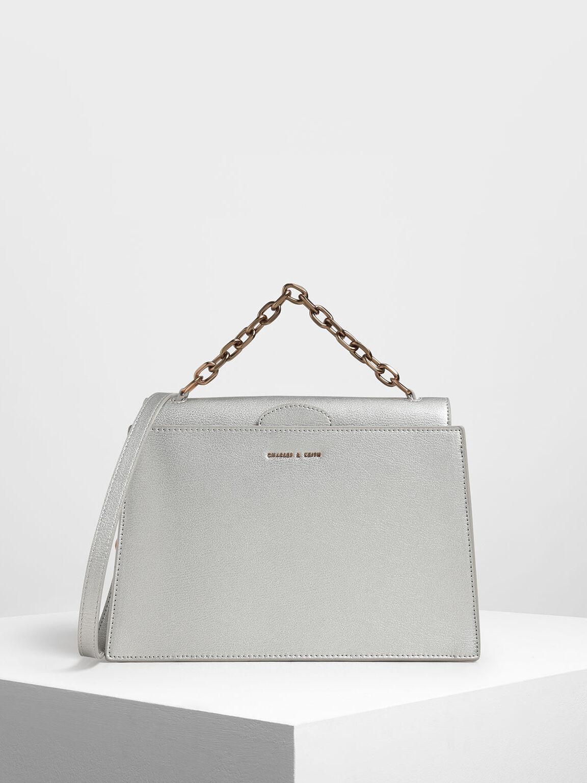 Tuck-In Flap Bag, Silver, hi-res