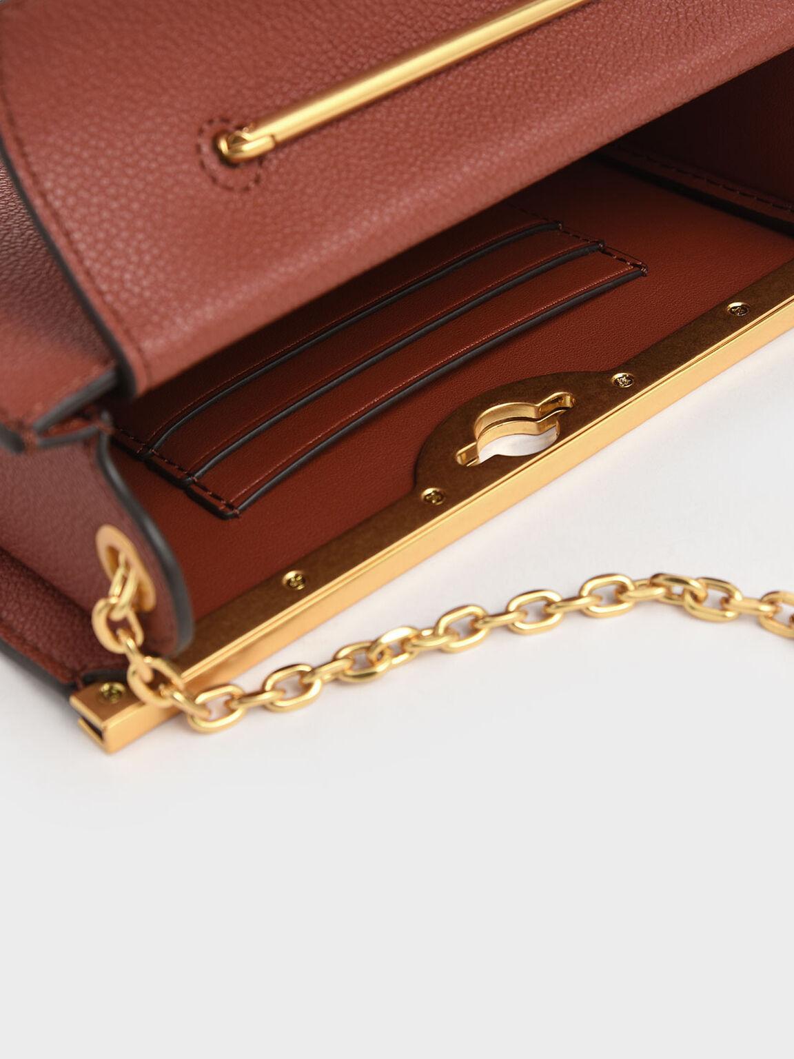 金屬環手拿包, 土色, hi-res