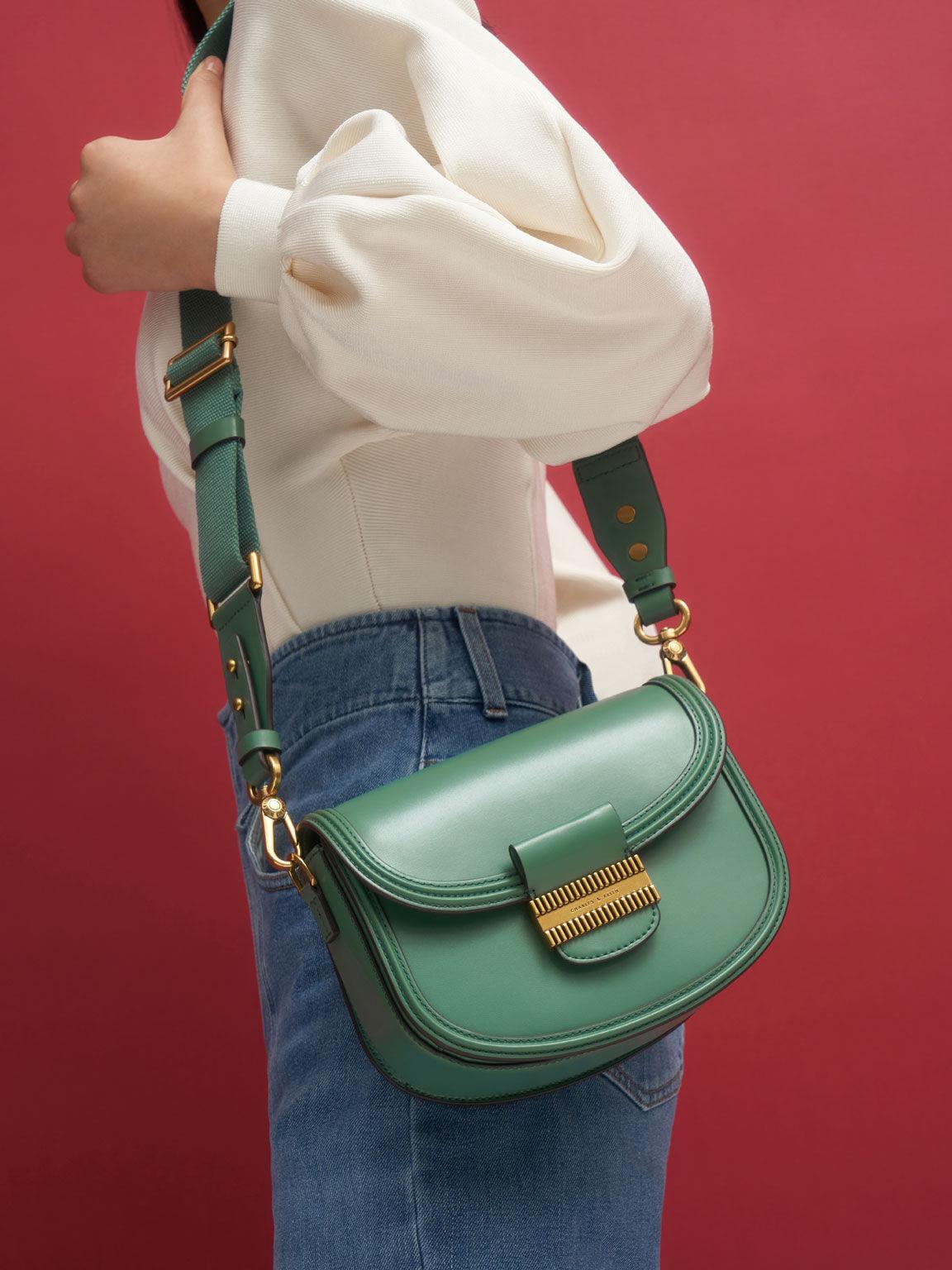 Embellished Saddle Bag, Green, hi-res