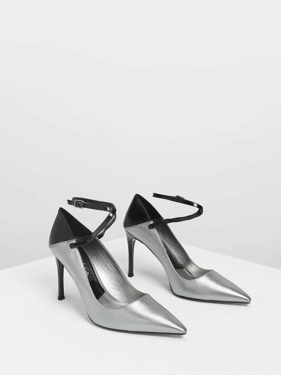 Criss Cross Ankle Strap Leather Heels, Pewter, hi-res
