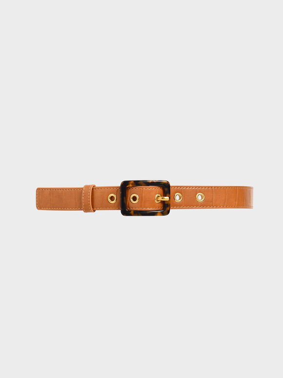 Croc-Effect Mid Waist Belt, Tan, hi-res