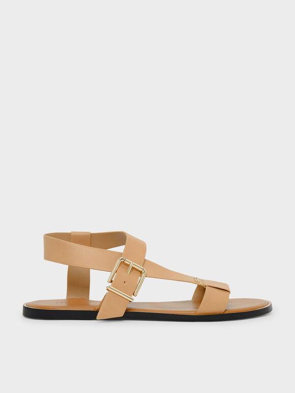 Thick Strap Sandals, Beige, hi-res
