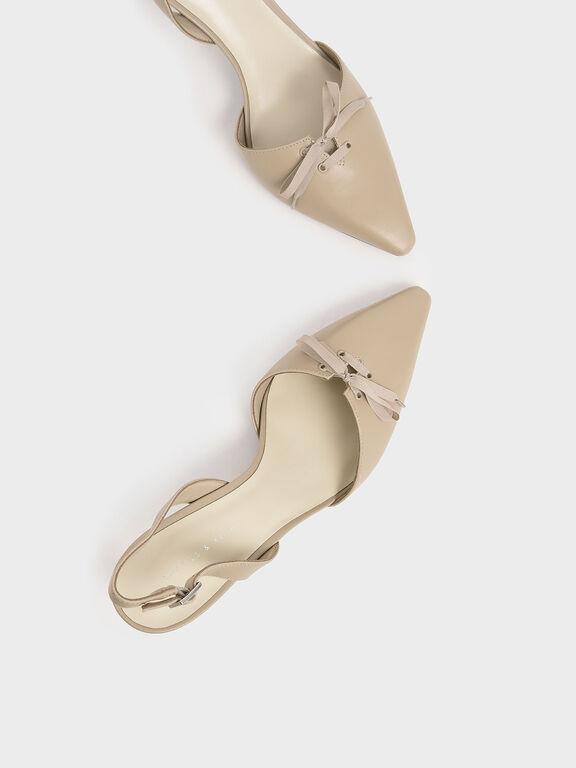 Ribbon Tie Slingback Heels, Beige