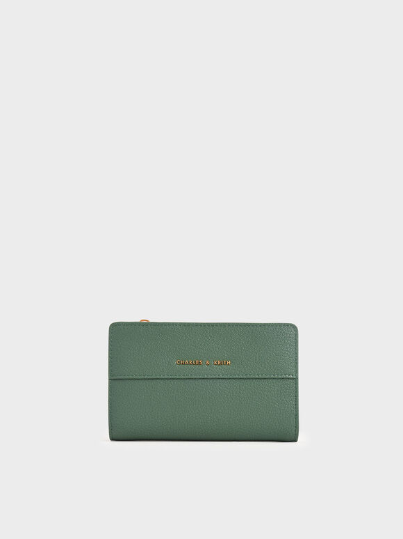 Snap-Button Mini Wallet, Green, hi-res