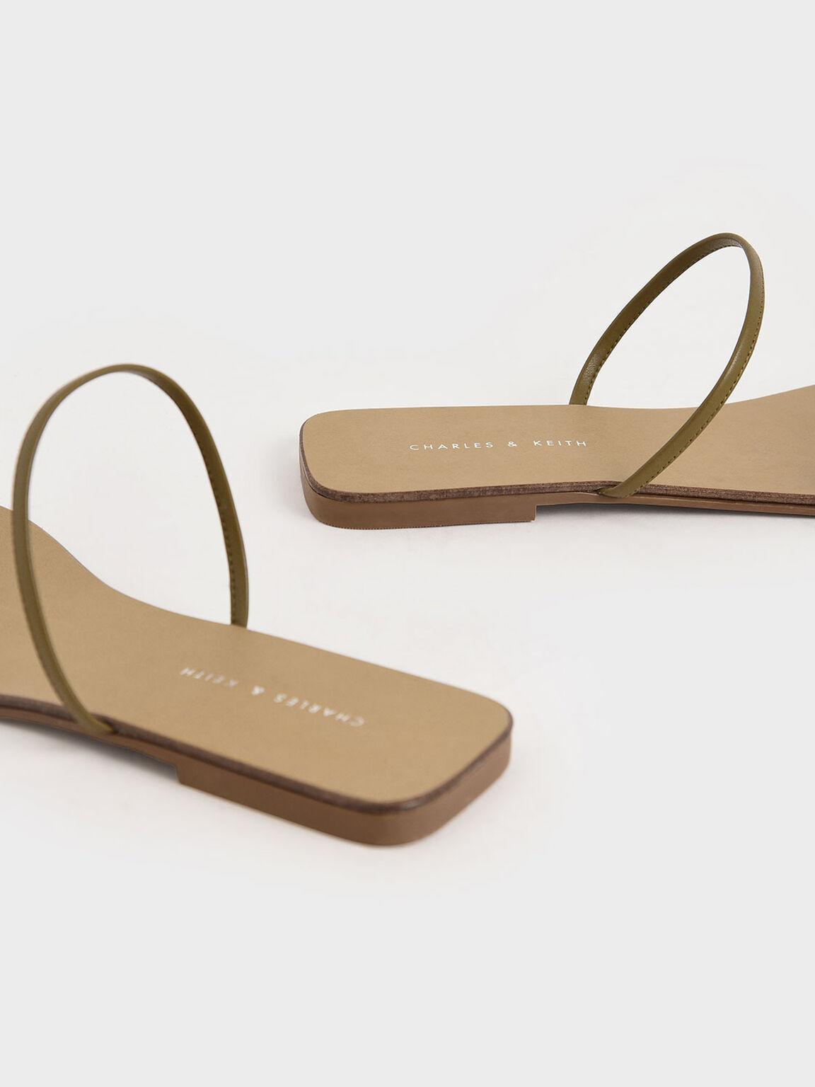Strappy Thong Sandals, Olive, hi-res