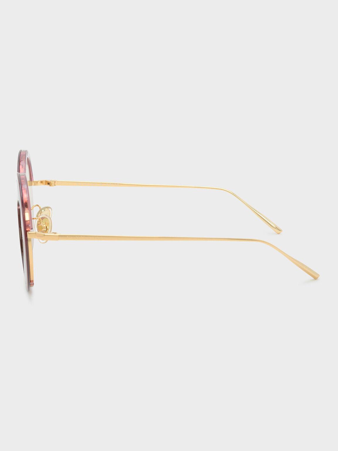Heart-Shaped Frame Sunglasses, Pink, hi-res