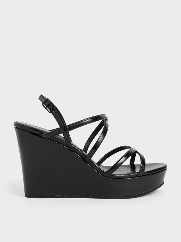 Patent Strappy Platform Wedges, Black, hi-res