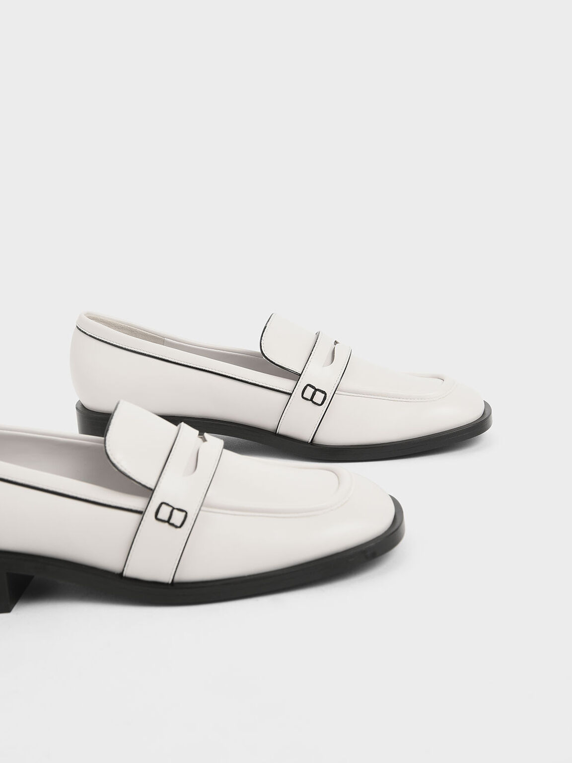 Two-Tone Penny Loafers, Cream, hi-res