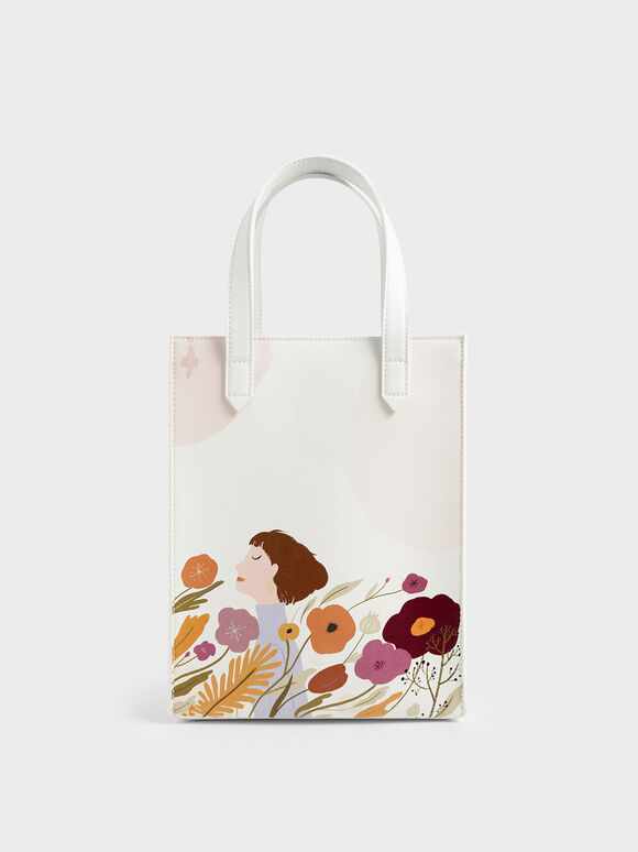 CHARLES & KEITH by Oamul Lu: Floral Illustration Tote Bag, White, hi-res