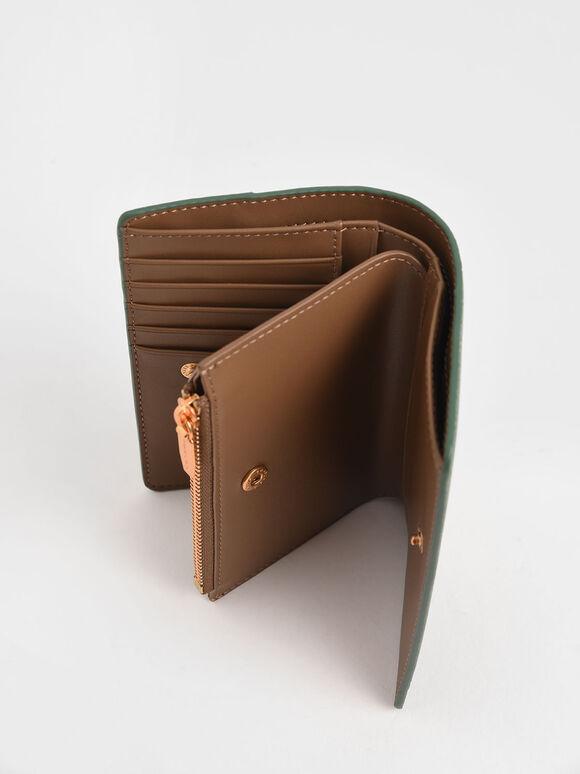Snap-Button Mini Wallet, Green, hi-res
