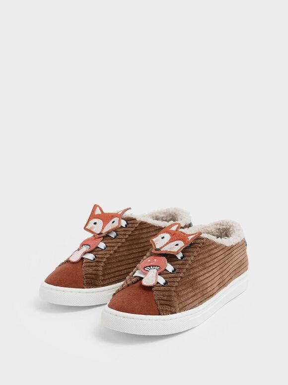 Girls' Fox Character Corduroy Sneakers, Multi, hi-res