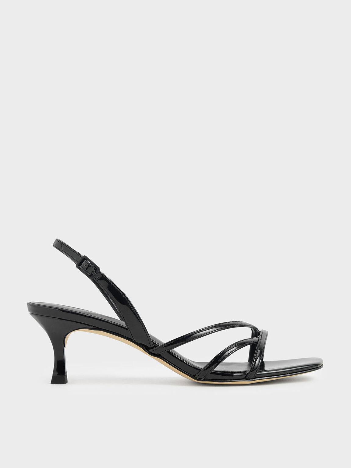 Asymmetric Strappy Patent Heels, Black, hi-res
