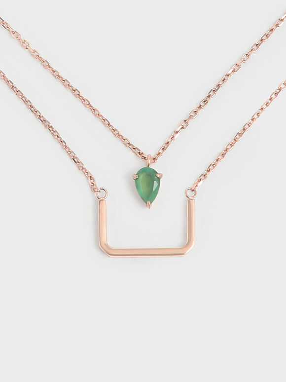 Green Agate Stone Layered Matinee Necklace, Rose Gold, hi-res