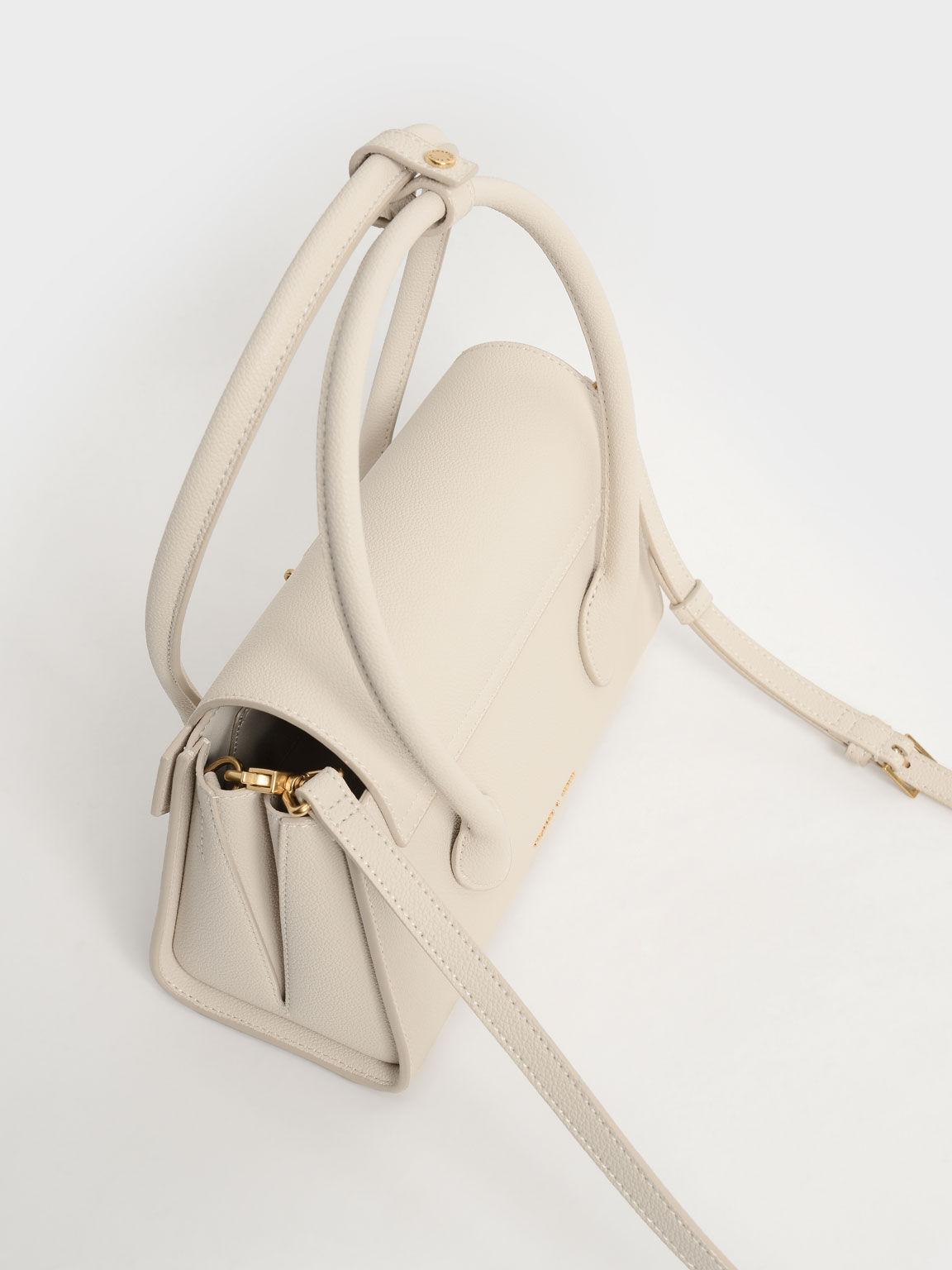 金屬釦手提梯形包, 奶油色, hi-res
