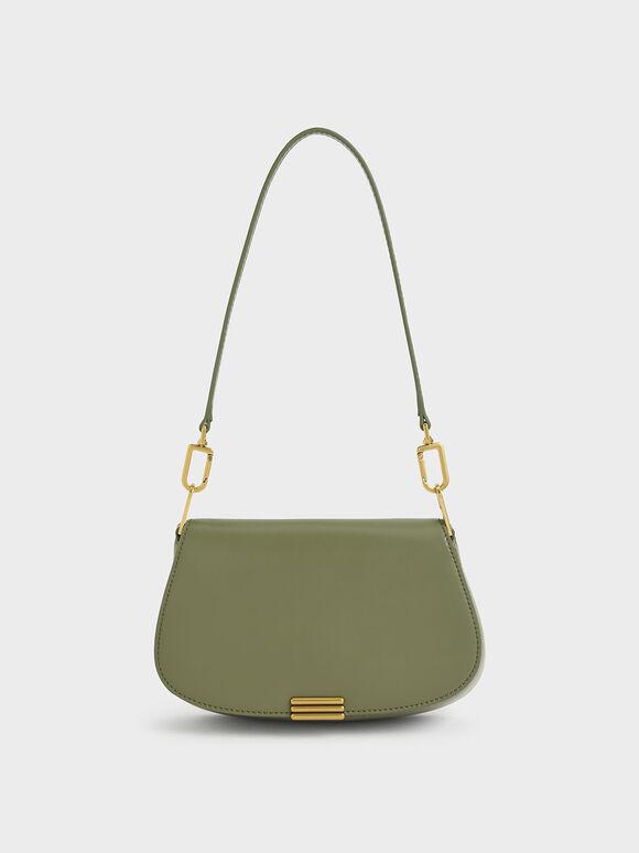 Metallic Accent Small Shoulder Bag, Olive, hi-res