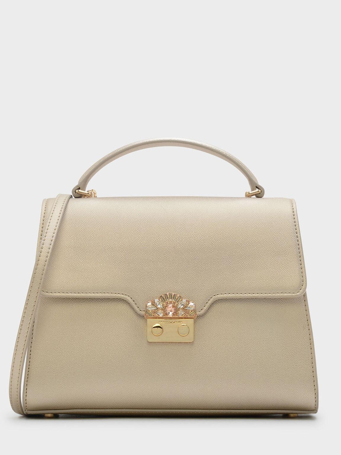 Embellished Buckle Bag, Gold, hi-res