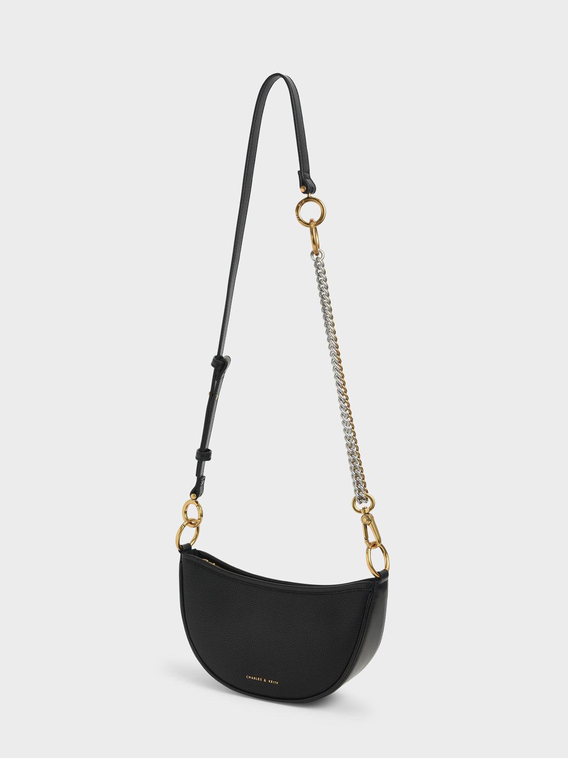 Crescent Crossbody Bag, Black, hi-res