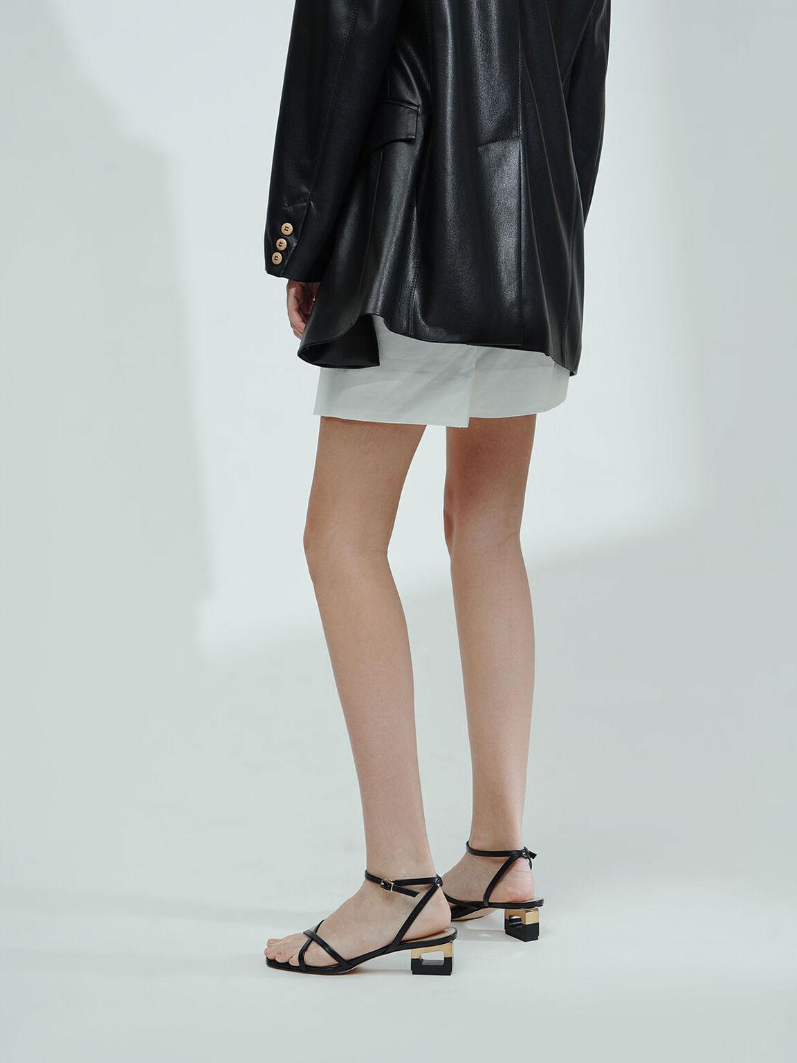 Sculptural Chrome Heel Sandals, Black, hi-res