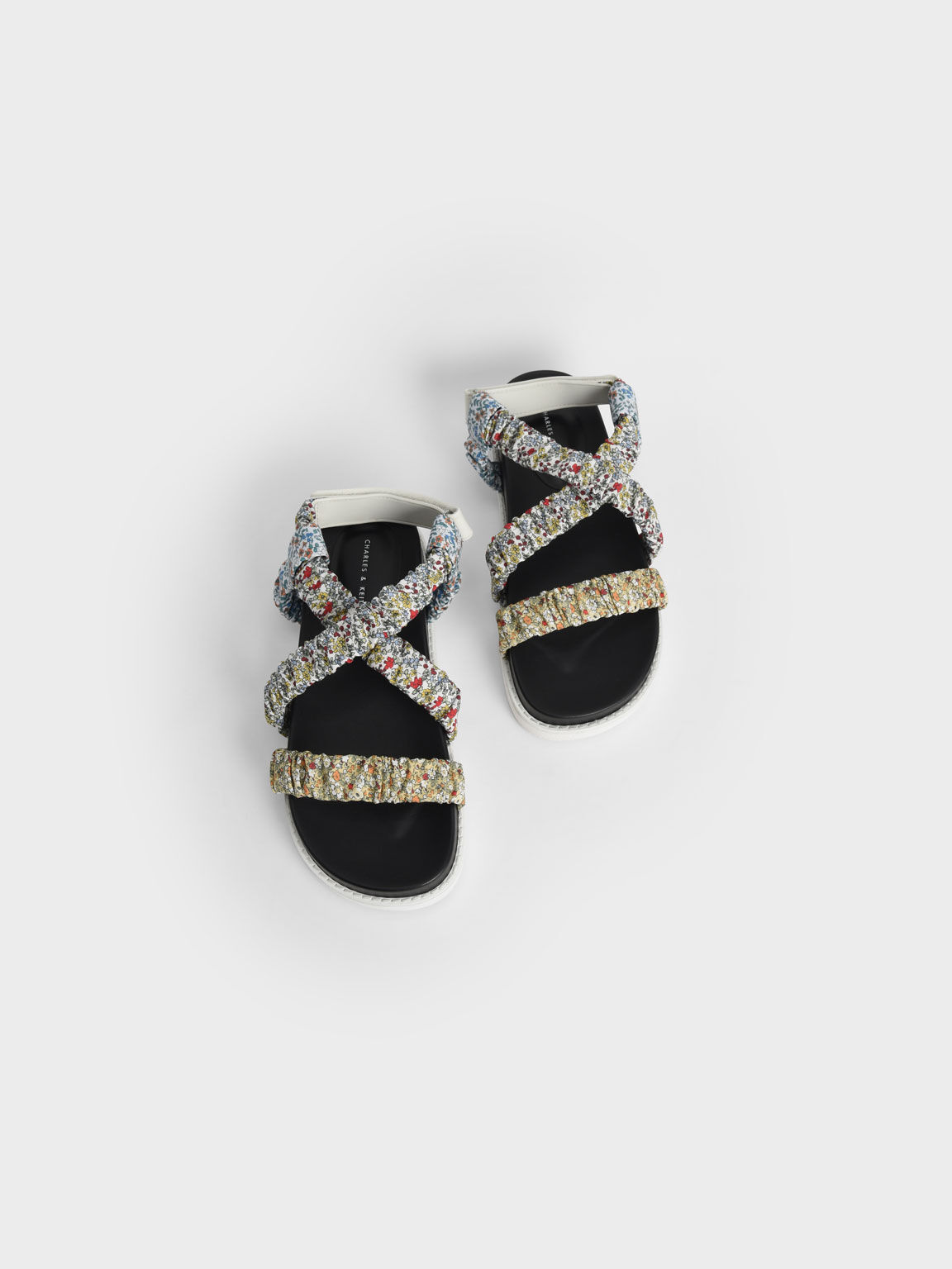 Printed Fabric Ruched Crossover Sandals, Multi, hi-res