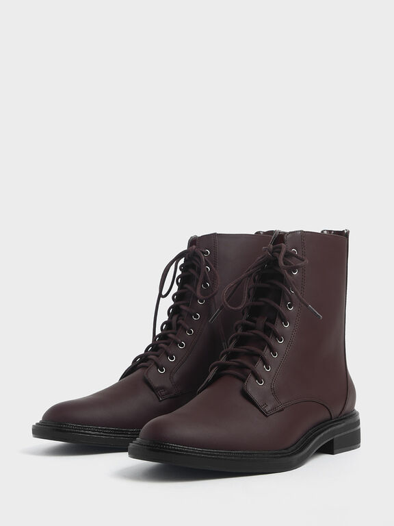 Back Zip Lace-Up Calf Boots, Brown, hi-res