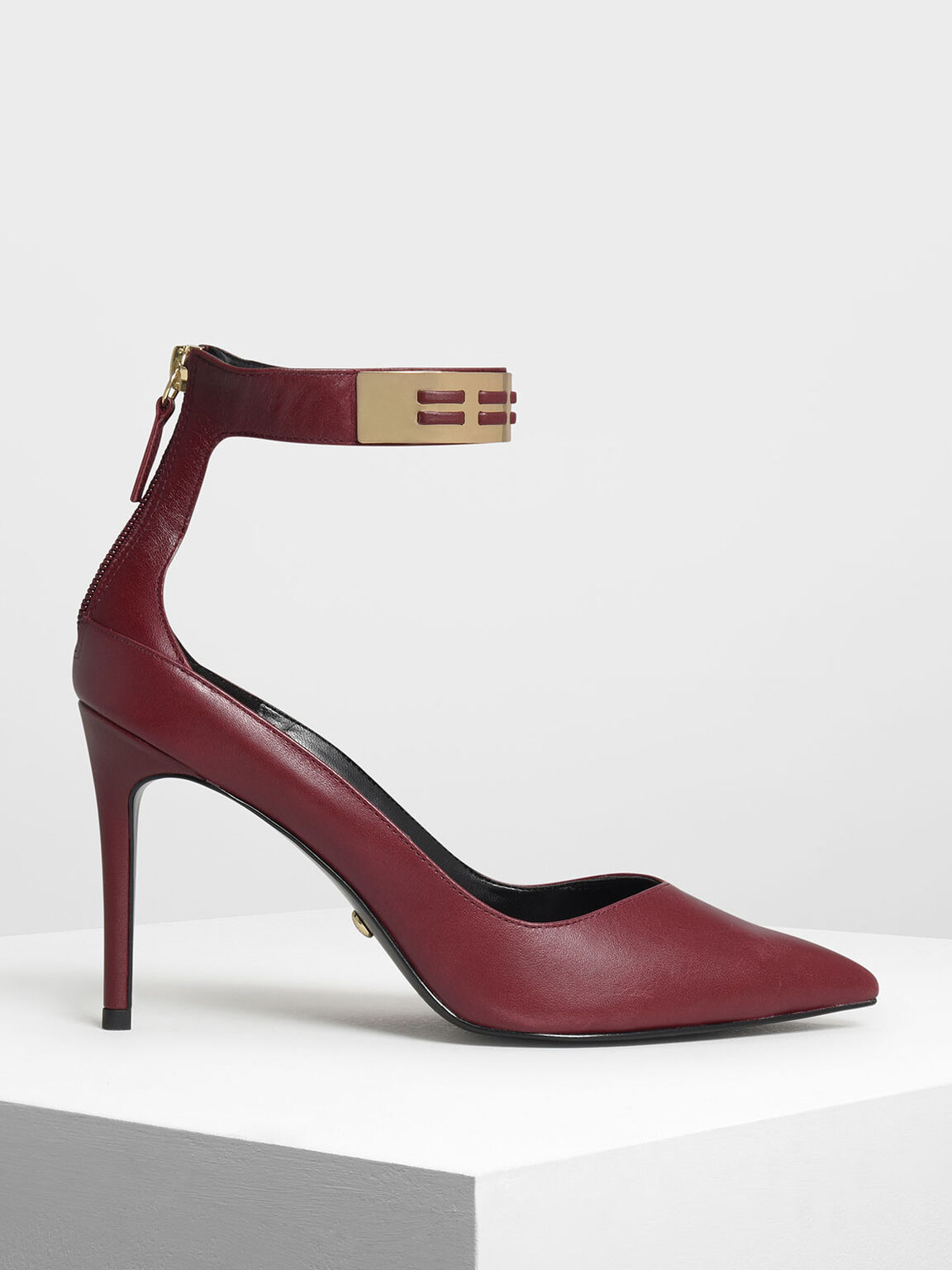 Metallic Cuff Leather Heels, Burgundy, hi-res