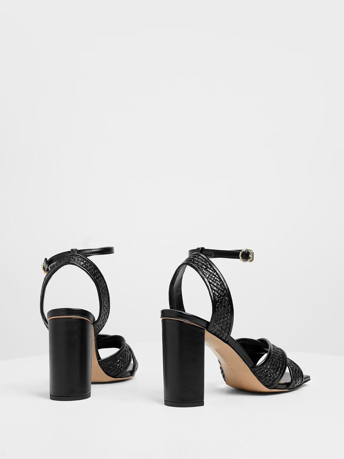 Woven Raffia Sandals, Black, hi-res