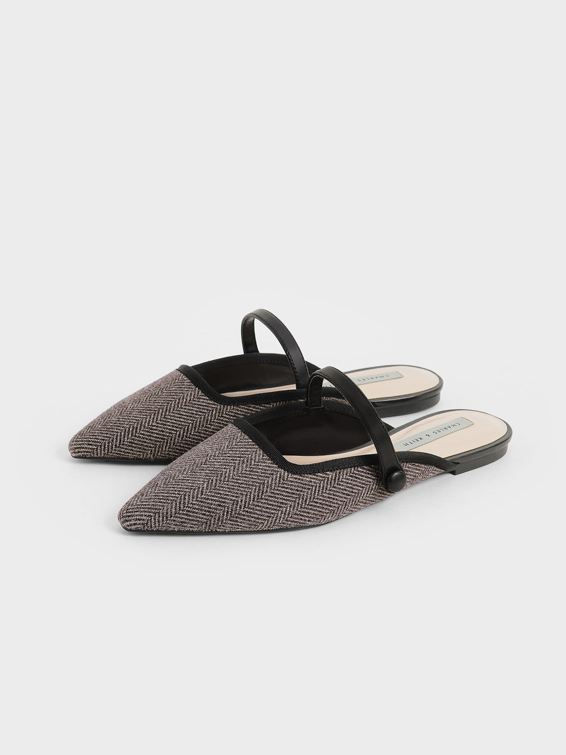 Woven Fabric Mary Jane Mules, Black Textured, hi-res