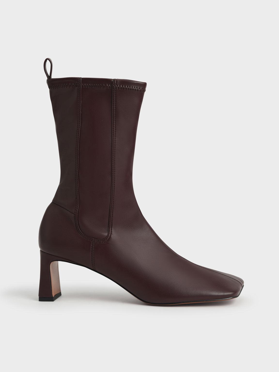 Stitch-Trim Slip-On Calf Boots, Dark Brown, hi-res