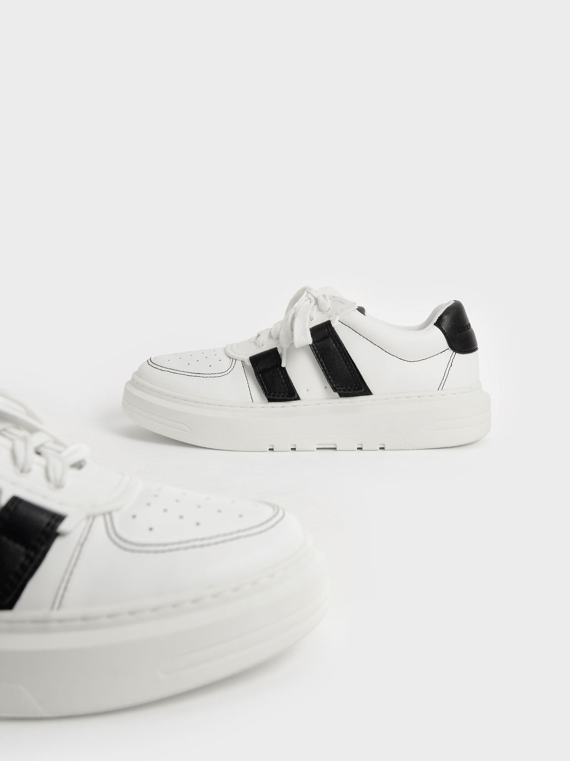 Lace-Up Velcro Sneakers, Black, hi-res