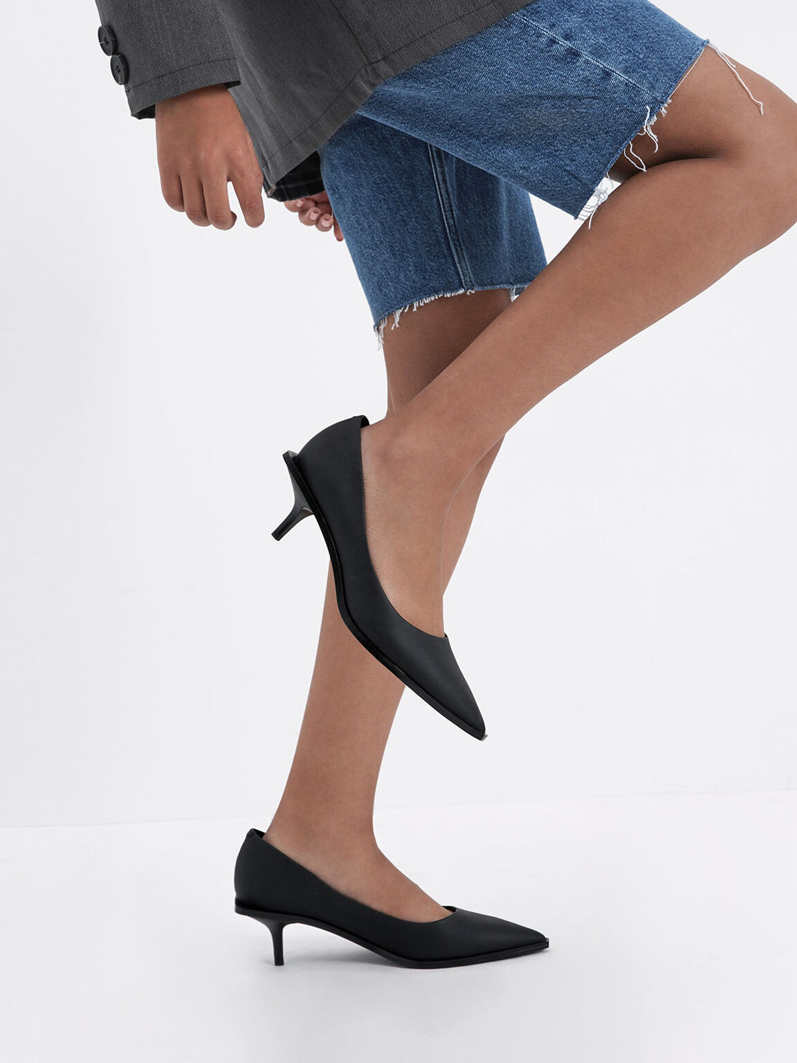 Pointed Toe Mini Heel Pumps, Black, hi-res