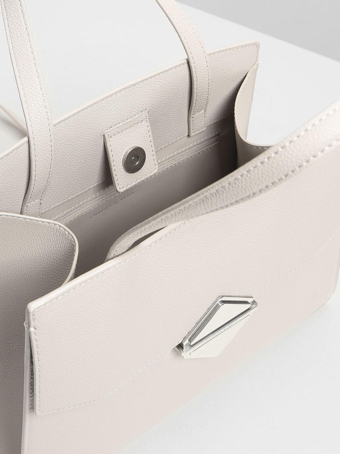 Metallic Accent Handbag, Pearl, hi-res