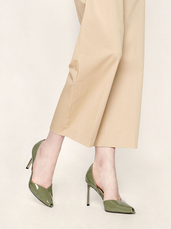 Leather Peep-Toe D'Orsay Pumps, Green, hi-res