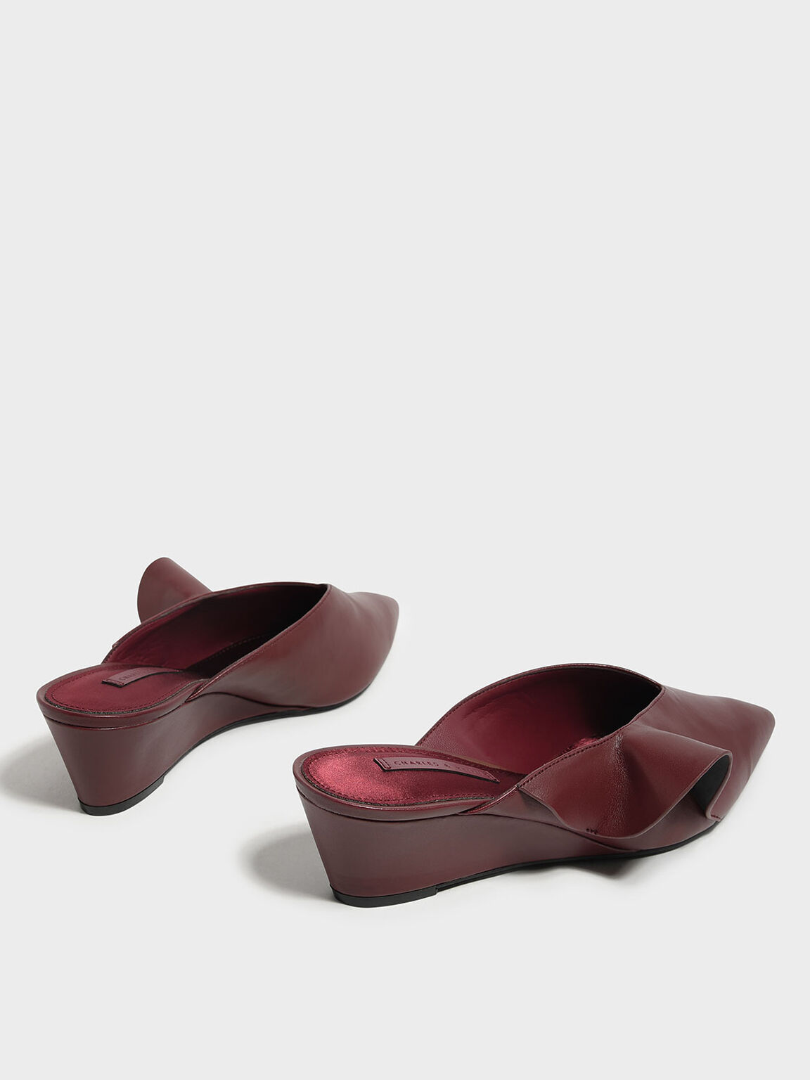 Ruffle Detail Low Wedge Mules, Red, hi-res