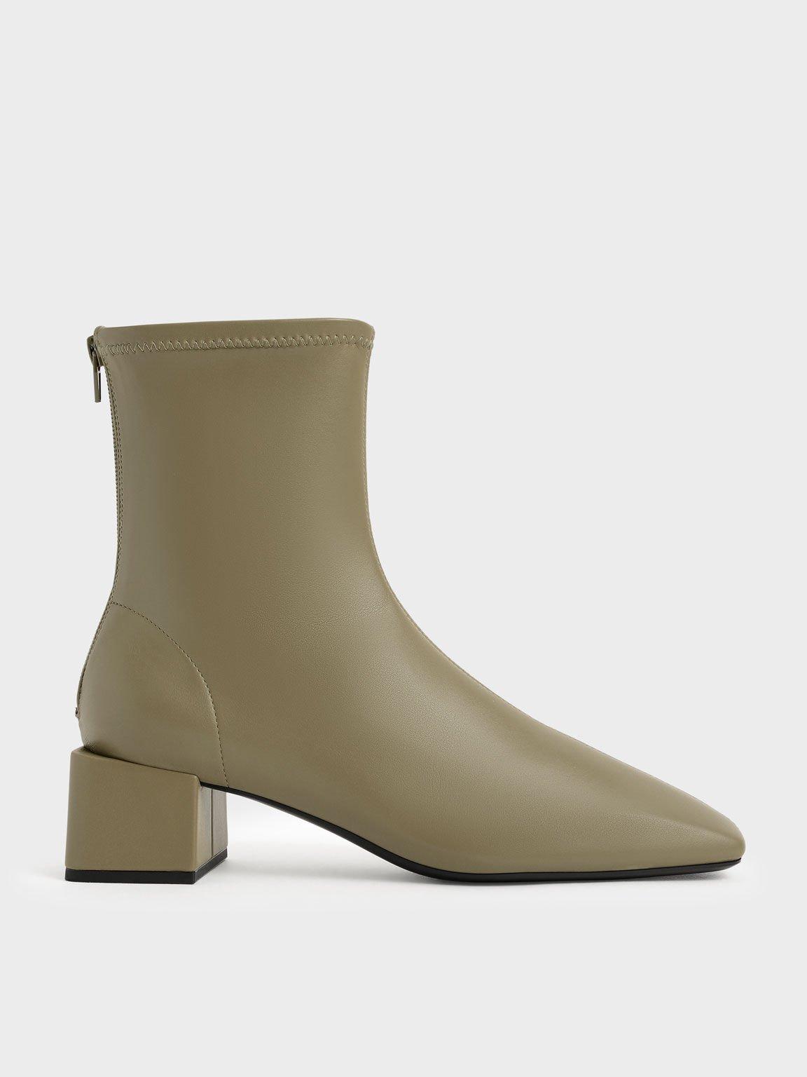 Block Heel Zip-Up Ankle Boots, Olive, hi-res