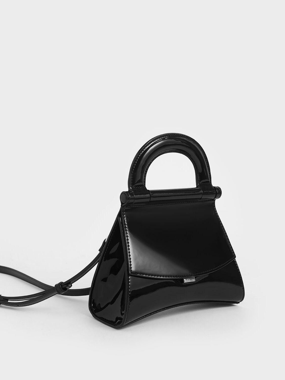 亮面掀蓋手提包, 黑色, hi-res