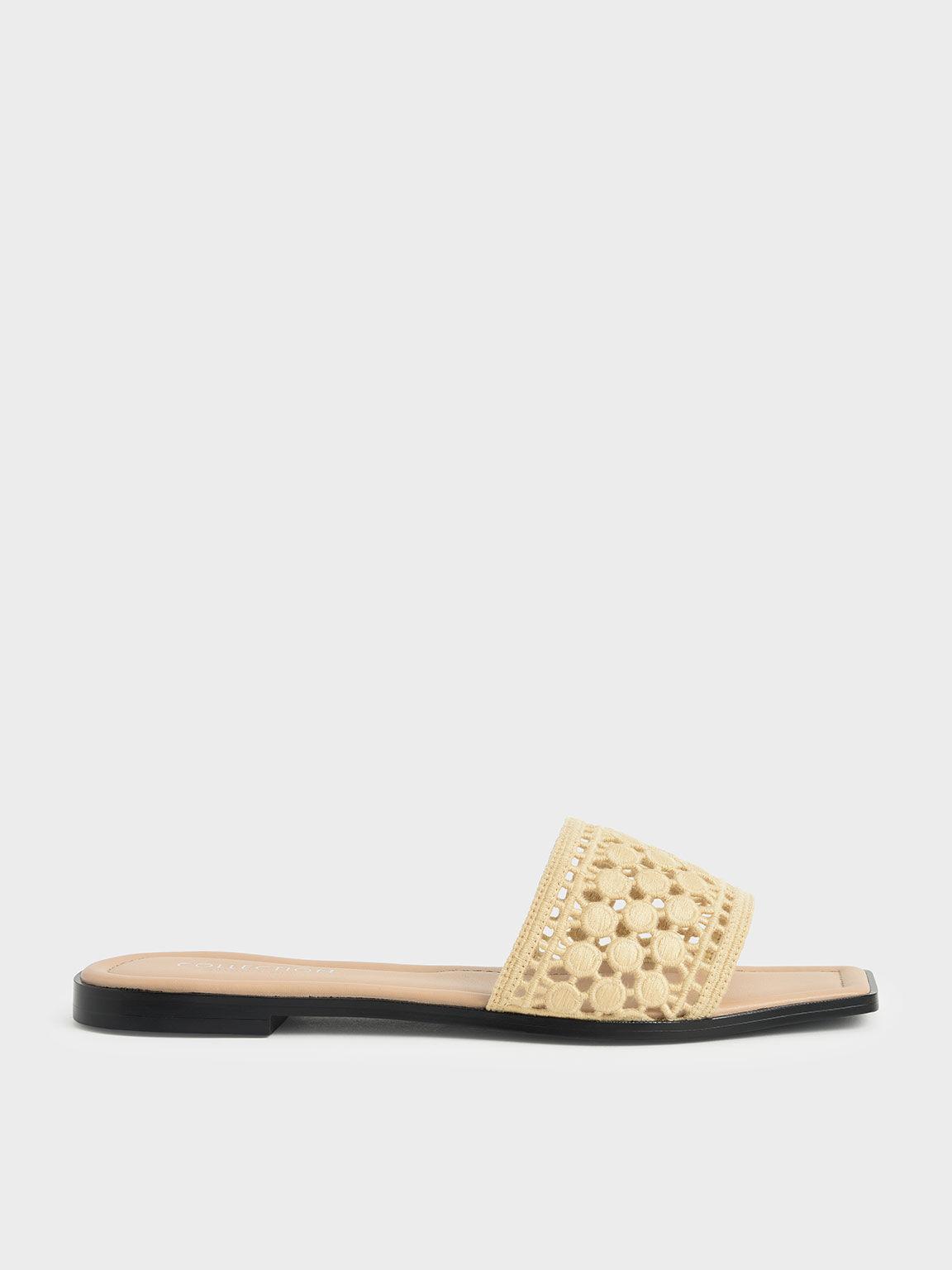 Asymmetrical Toe Crochet Slides, Yellow, hi-res